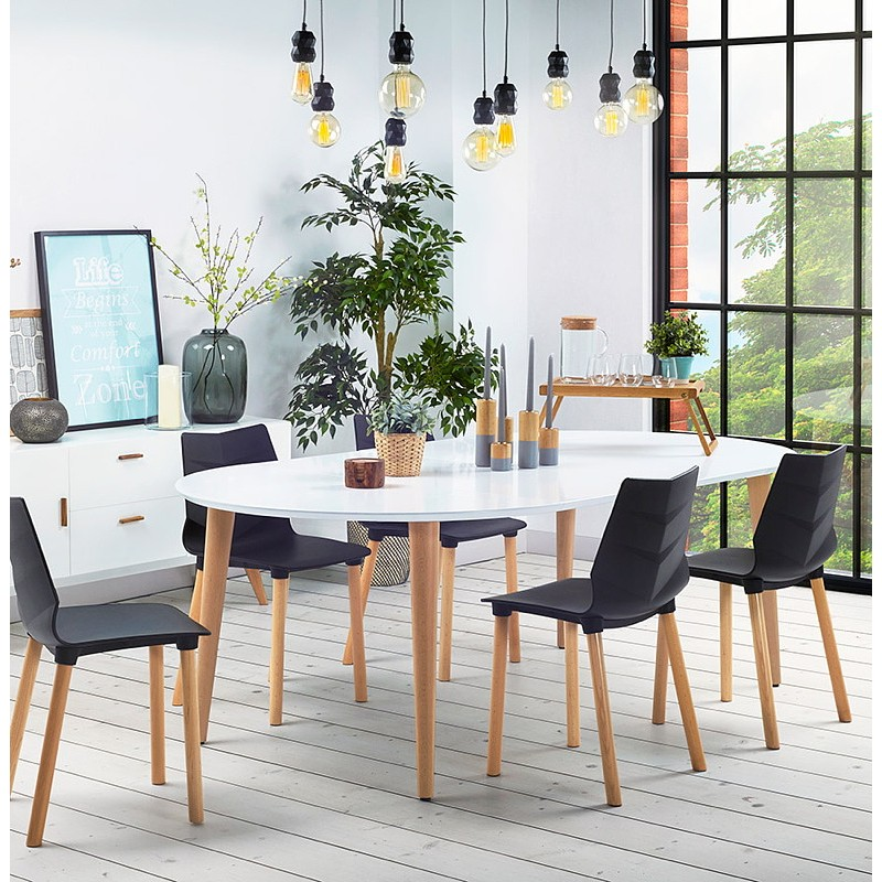 Round dining table Scandinavian to extensions (Ø 120 cm) OLIVIA (120-220 x 120 x 75 cm) wooden (matte white) - image 39624
