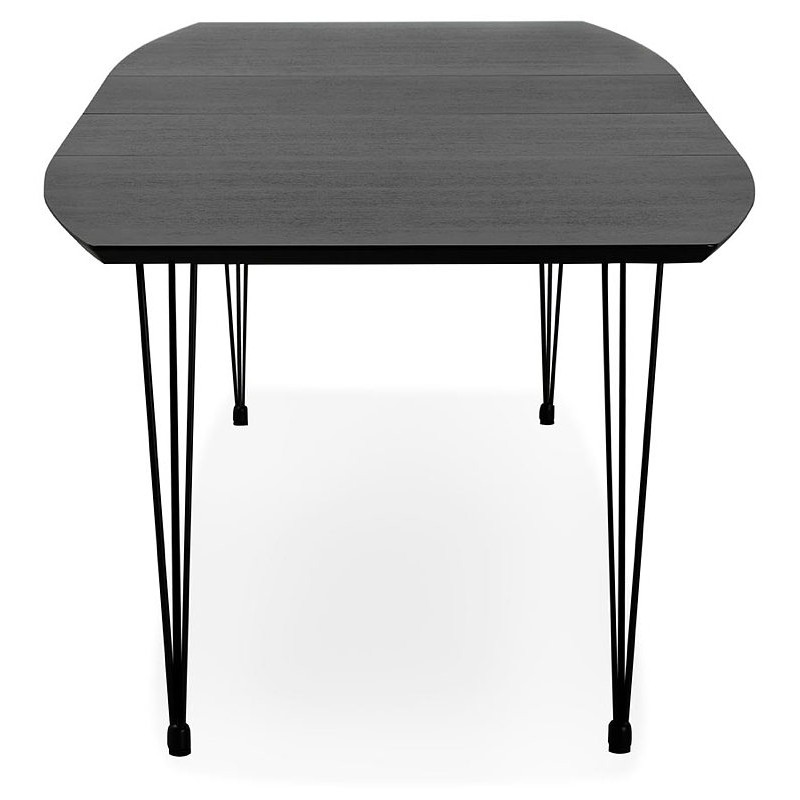 Dining table design with extensions LOANA in wood and metal (100 x 170-270 x 73 cm) (black) - image 39627