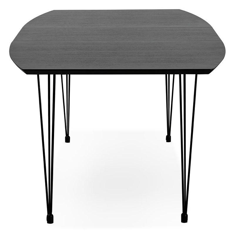Dining table design with extensions LOANA in wood and metal (100 x 170-270 x 73 cm) (black) - image 39631