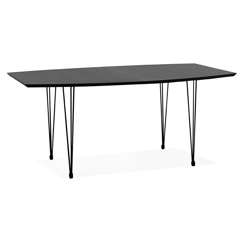 Dining table design with extensions LOANA in wood and metal (100 x 170-270 x 73 cm) (black) - image 39633