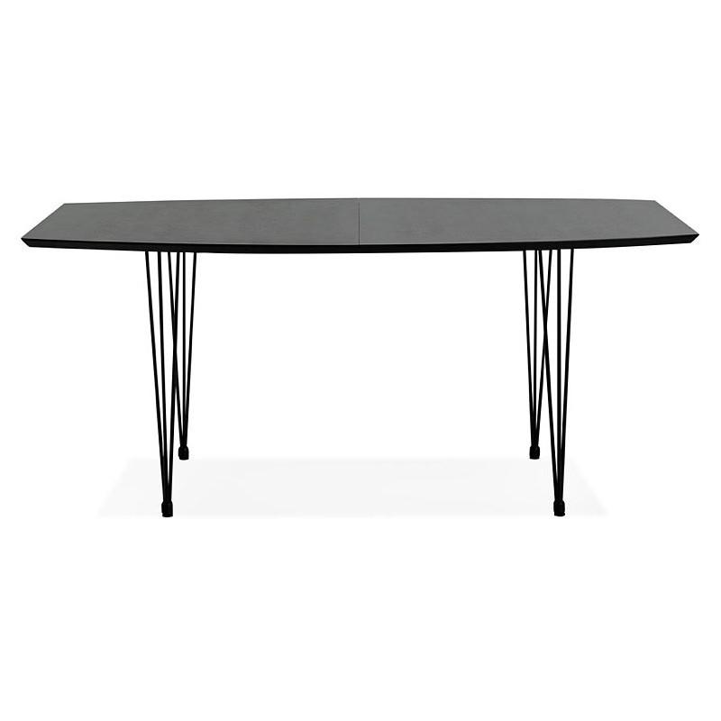 table manger design avec rallonges loana en bois et m tal 100x170 270x73 cm noir. Black Bedroom Furniture Sets. Home Design Ideas