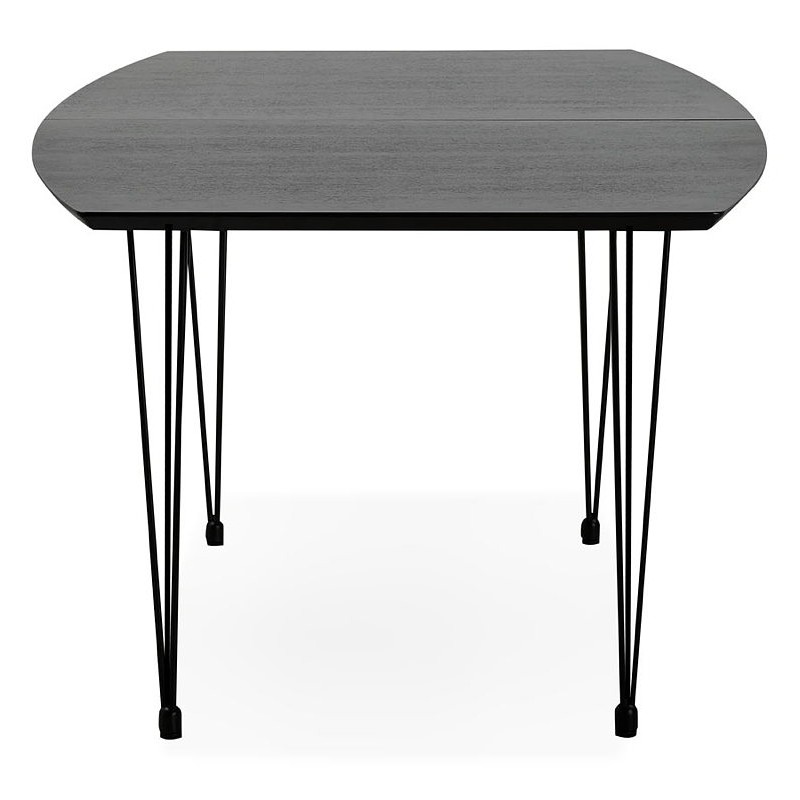 Dining table design with extensions LOANA in wood and metal (100 x 170-270 x 73 cm) (black) - image 39635