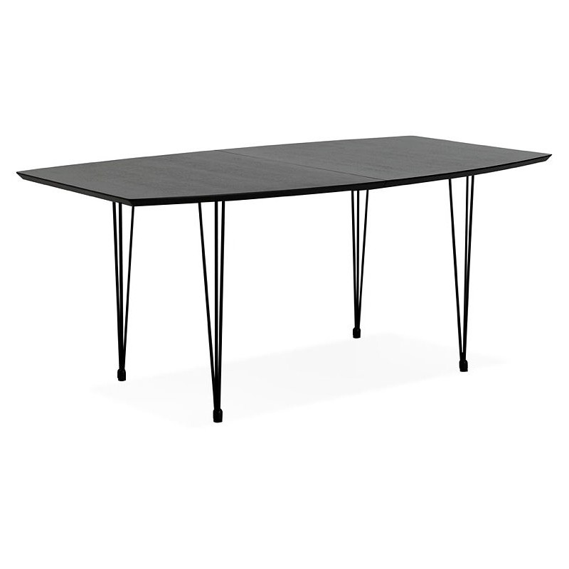 Dining table design with extensions LOANA in wood and metal (100 x 170-270 x 73 cm) (black) - image 39636