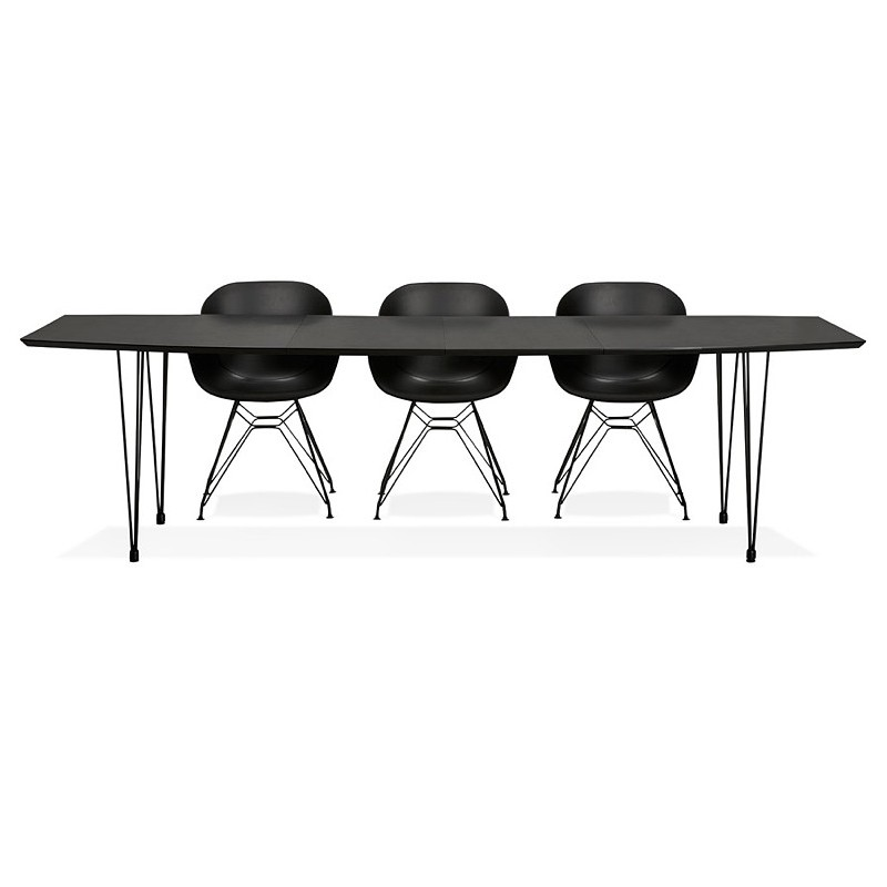 Dining table design with extensions LOANA in wood and metal (100 x 170-270 x 73 cm) (black) - image 39643
