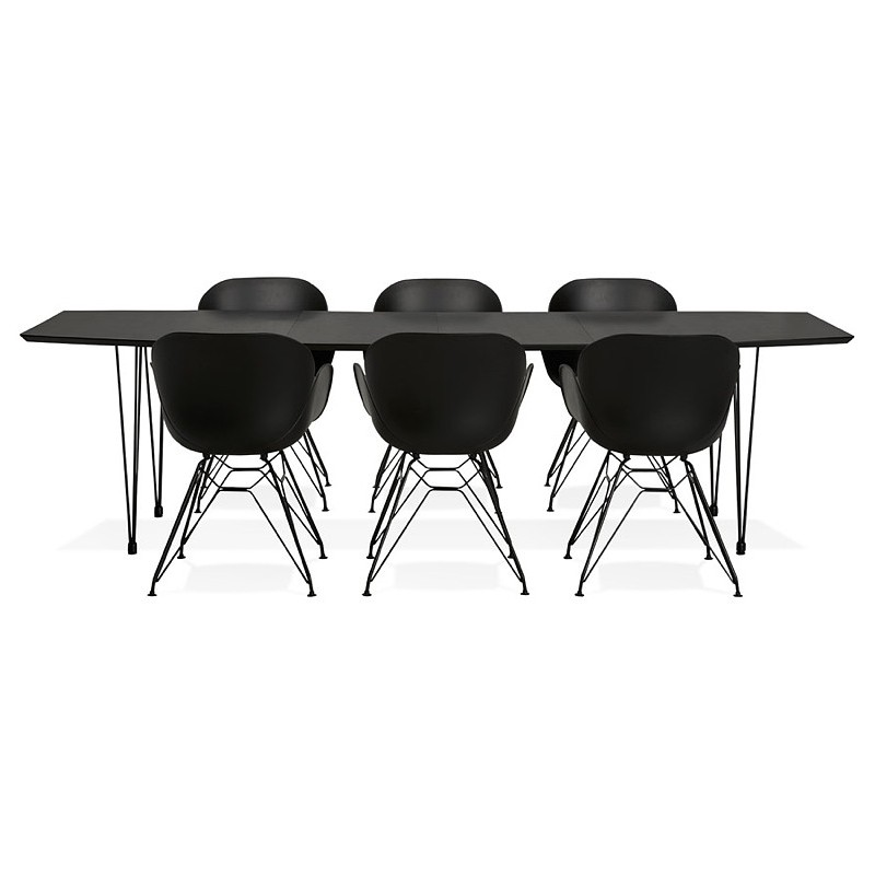 Dining table design with extensions LOANA in wood and metal (100 x 170-270 x 73 cm) (black) - image 39644