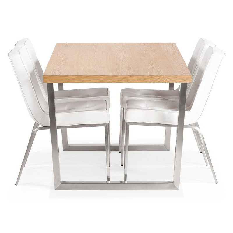Table à manger design ou table de réunion AXELLE en bois et métal (180x90x77 cm) (naturel) - image 39666