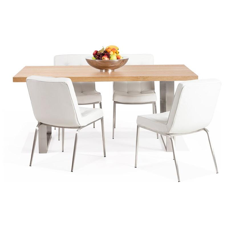 Table à manger design ou table de réunion AXELLE en bois et métal (180x90x77 cm) (naturel) - image 39668