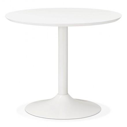 Tavolo rotondo da pranzo design scandinavo o ufficio MAUD in MDF e metallo verniciato (Ø 90 cm) (bianco)