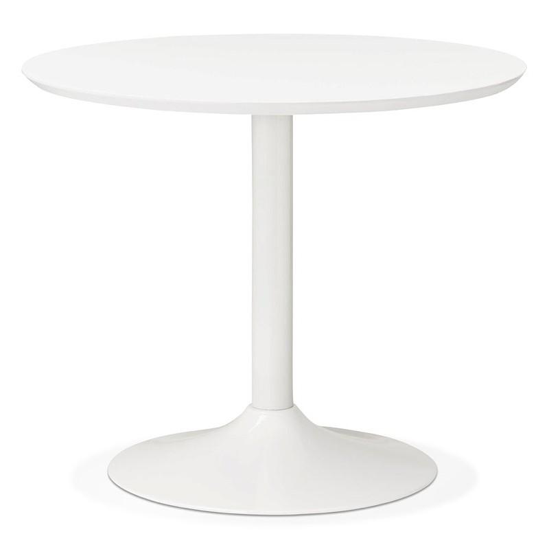 Tisch rund essen skandinavisches Design oder Büro MAUD in MDF und lackiertem Metall (Ø 90 cm) (weiß)
