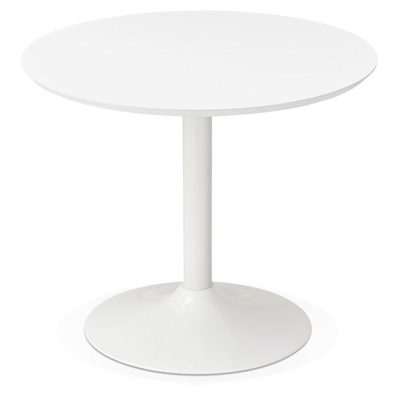 Tisch rund essen skandinavisches Design oder Büro MAUD in MDF und lackiertem Metall (Ø 90 cm) (weiß) - image 39672