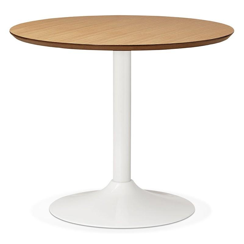 Tavolo rotondo da pranzo design scandinavo o ufficio MAUD in MDF e metallo verniciato (Ø 90 cm) (rovere naturale)