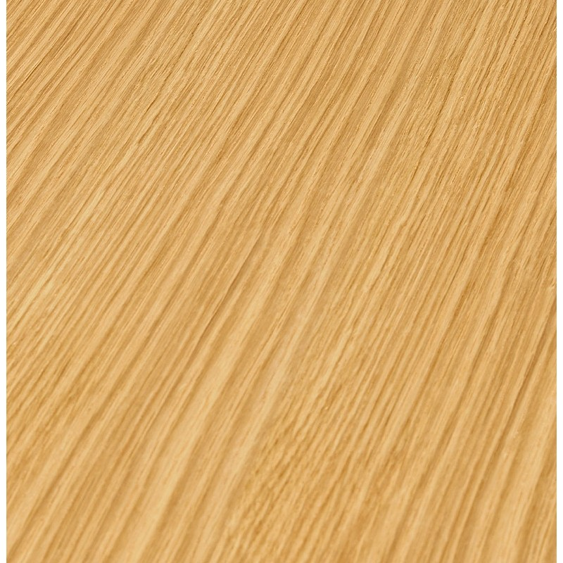 Table à manger ronde design scandinave ou bureau MAUD en MDF et métal peint (Ø 90 cm) (chêne naturel) - image 39682