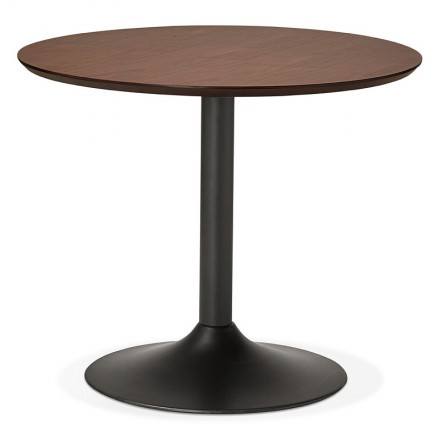 Table round dining Scandinavian vintage or Office MAUD in MDF and painted metal (Ø 90 cm) (black walnut)