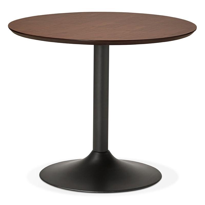 Tavolo rotondo da pranzo vintage scandinavo o ufficio MAUD in MDF e metallo verniciato (Ø 90 cm) (noce nero)