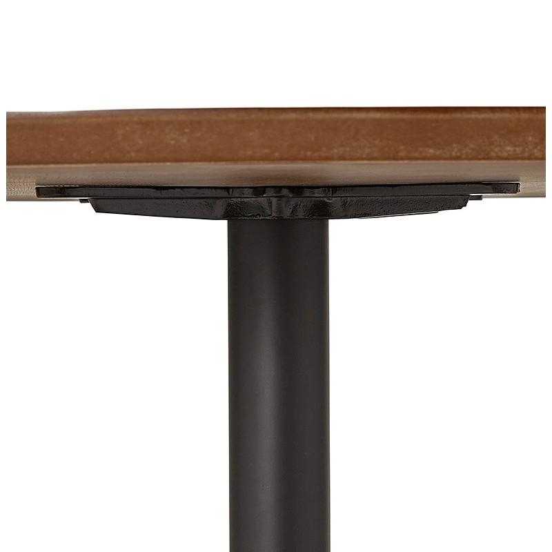 Tavolo rotondo da pranzo vintage scandinavo o ufficio MAUD in MDF e metallo verniciato (Ø 90 cm) (noce nero) - image 39694