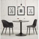 Tisch rund essen, Design oder Büro MAUD in MDF und lackiertem Metall (Ø 90 cm) (schwarz)