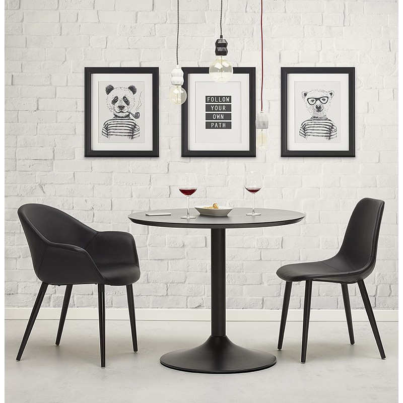 Table round dining design or Office MAUD in MDF and painted metal (Ø 90 cm) (black) - image 39707