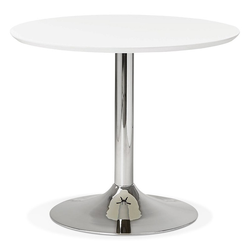 Round dining table design or Office MAUD in MDF and chromed metal (Ø 90 cm) (white, chrome) - image 39708