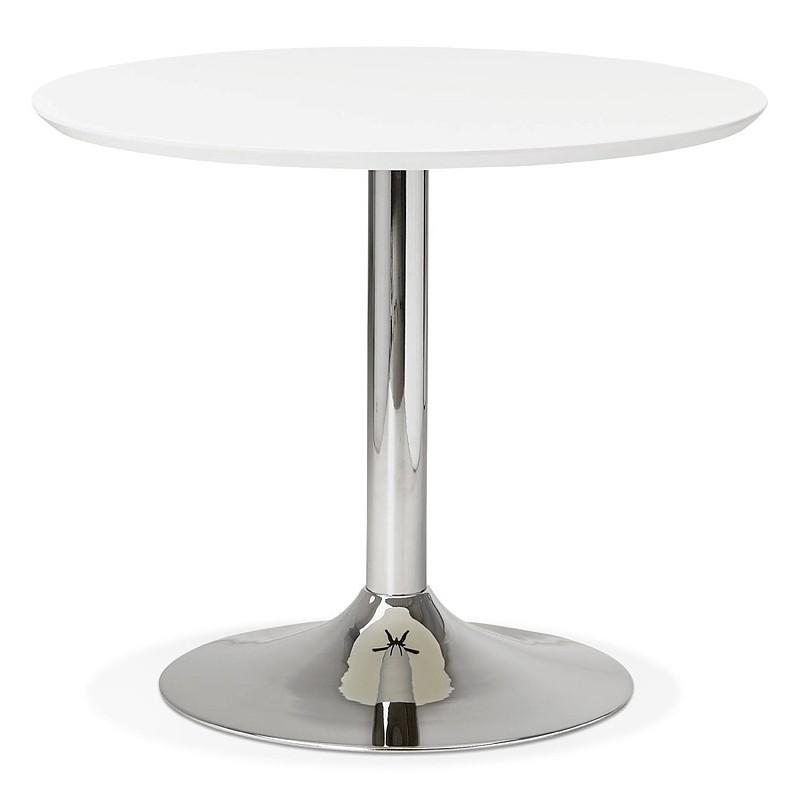 Runder Esstisch Design oder Büro MAUD in MDF und verchromtem Metall (Ø 90 cm) (weiß, Chrom) - image 39708