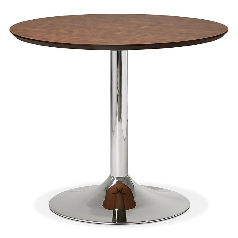 Runder Esstisch Design oder Büro MAUD in MDF und verchromtem Metall (Ø 90 cm) (Walnuss, Chrom) - image 39717