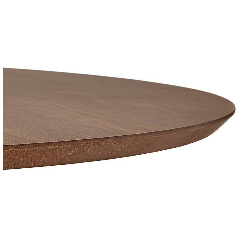 Runder Esstisch Design oder Büro MAUD in MDF und verchromtem Metall (Ø 90 cm) (Walnuss, Chrom) - image 39721