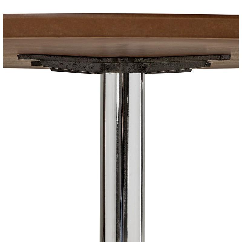 Runder Esstisch Design oder Büro MAUD in MDF und verchromtem Metall (Ø 90 cm) (Walnuss, Chrom) - image 39722