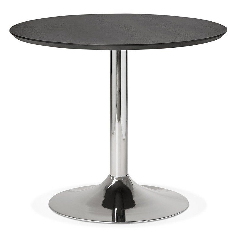 Round dining table design or Office MAUD in MDF and chromed metal (Ø 90 cm) (black, chrome)