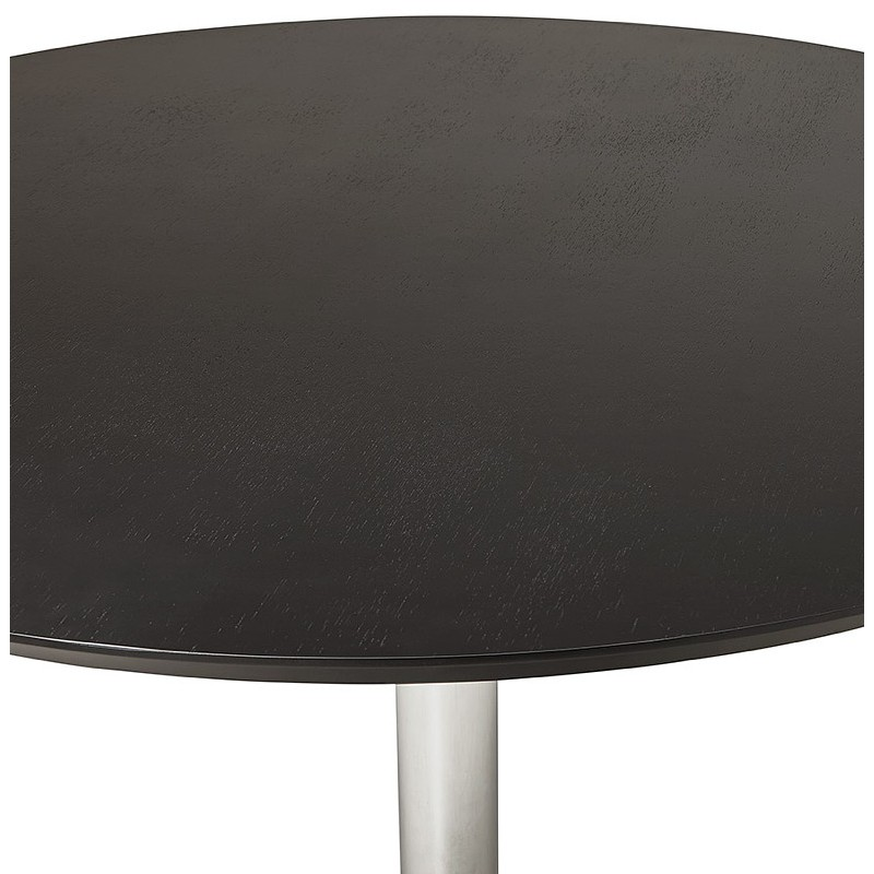 Round dining table design or Office MAUD in MDF and chromed metal (Ø 90 cm) (black, chrome) - image 39729