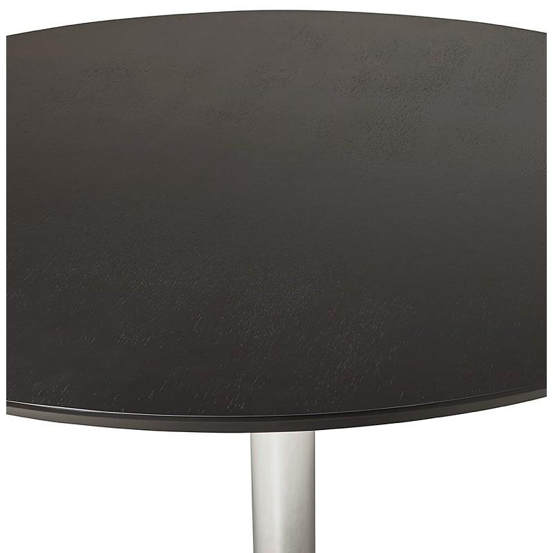 Table à manger ronde design ou bureau MAUD en MDF et métal chromé (Ø 90 cm) (noir, chrome) - image 39729