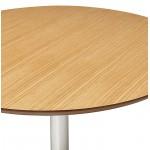 Table à manger ronde design ou bureau MAUD en MDF et métal chromé (Ø 90 cm) (chêne naturel, chrome)