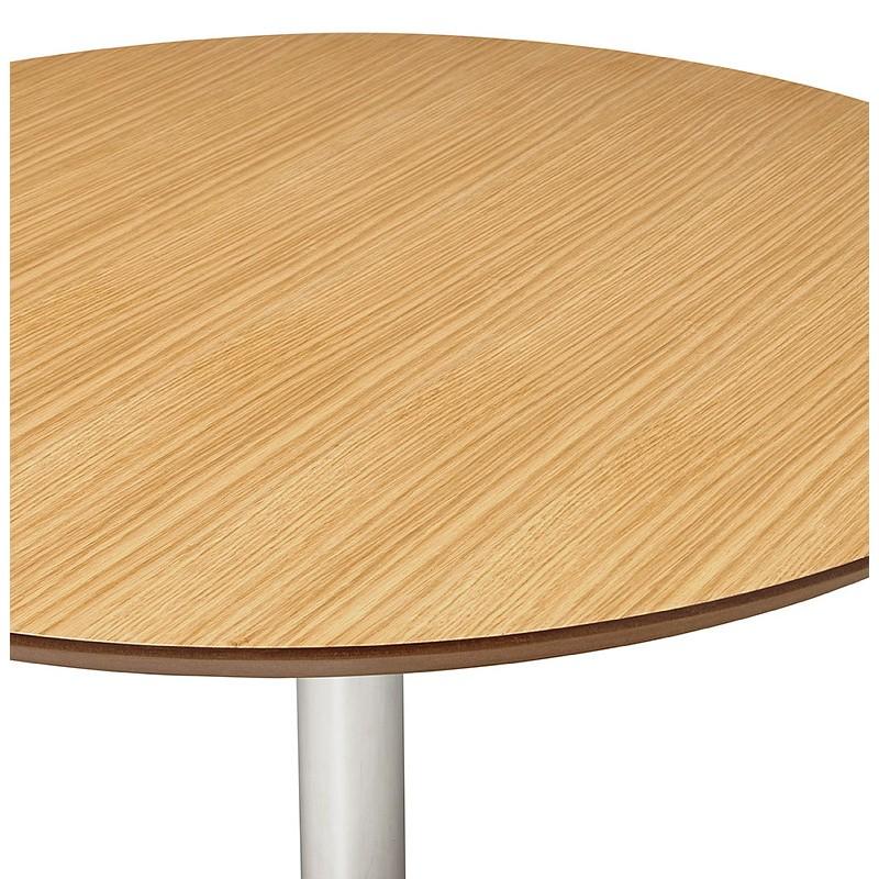 Table à manger ronde design ou bureau MAUD en MDF et métal chromé (Ø 90 cm) (chêne naturel, chrome) - image 39738