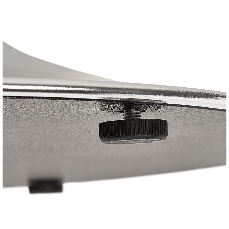 Table à manger ronde design ou bureau MAUD en MDF et métal chromé (Ø 90 cm) (chêne naturel, chrome) - image 39742