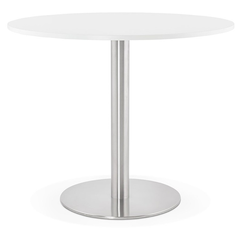 Round dining table design or Office CARLA wooden chipboard and metal brushed (O 90 cm) (white, brushed steel)