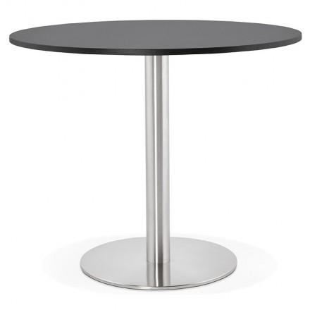 Table à manger ronde design ou bureau CARLA en bois aggloméré et métal brossé (Ø 90 cm) (noir, acier brossé)