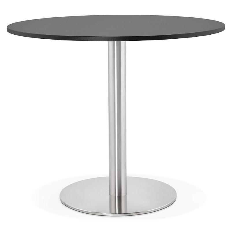 Runder Esstisch Design oder Office CARLA hölzernen Spanplatte und Metall gebürstet (O 90 cm) (schwarz, gebürstetem Stahl)