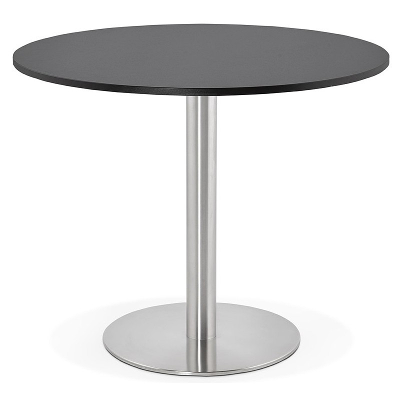 Round dining table design or Office CARLA wooden chipboard and metal brushed (O 90 cm) (black, brushed steel) - image 39754