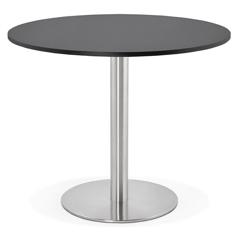 Runder Esstisch Design oder Office CARLA hölzernen Spanplatte und Metall gebürstet (O 90 cm) (schwarz, gebürstetem Stahl) - image 39754