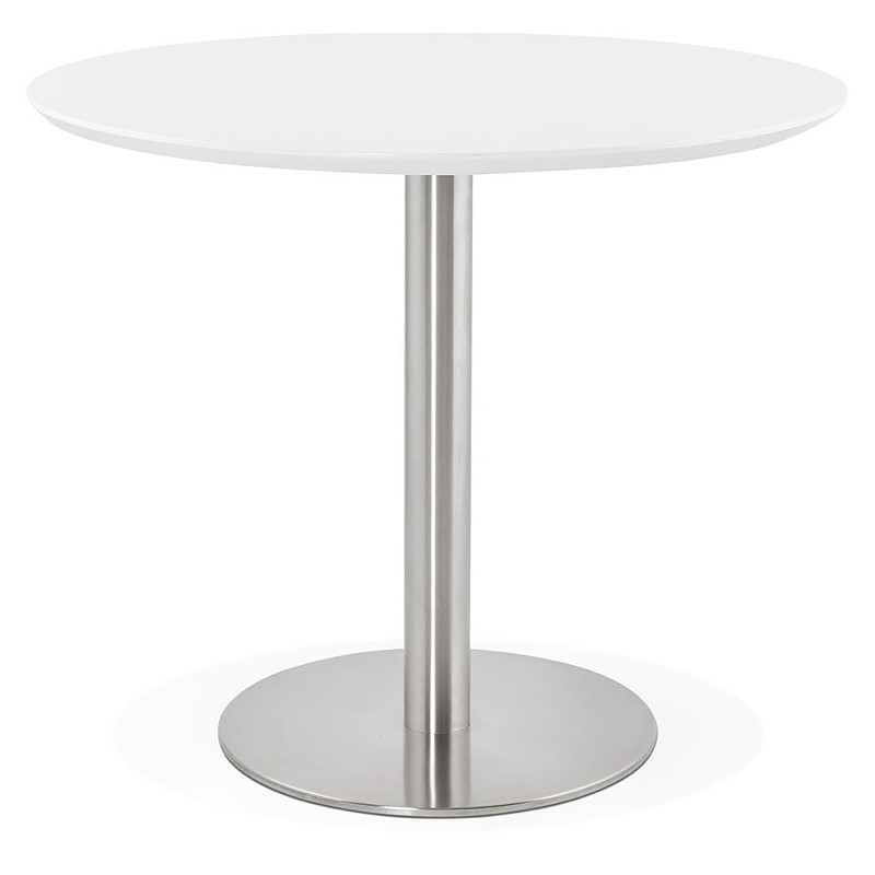 Round dining table design or Office COLINE in MDF and metal brushed (O 90 cm) (white, brushed steel)