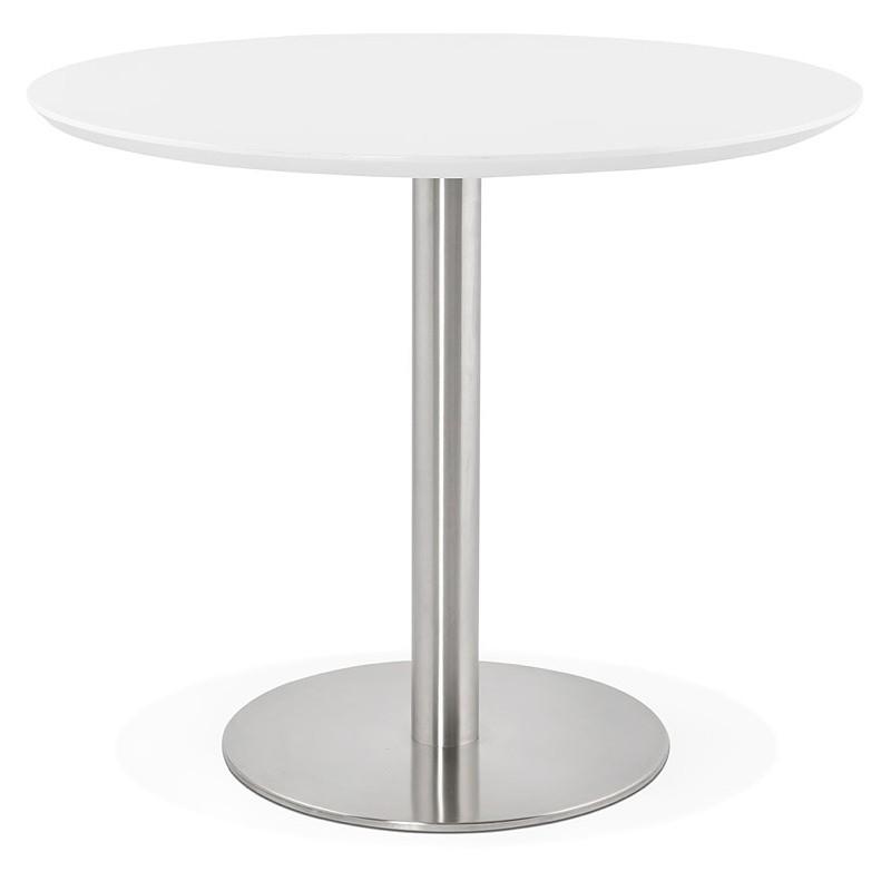 Runder Esstisch Design oder Büro COLINE aus MDF und Metall gebürstet (O 90 cm) (weiß, gebürstetem Stahl)