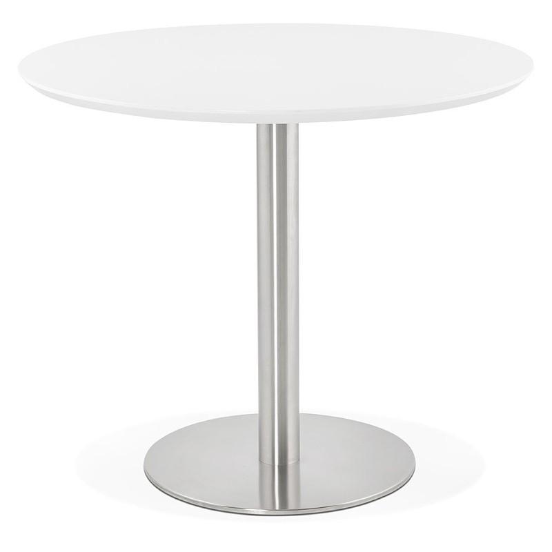 Tavolo Rotondo Vetro E Acciaio.Tavolo Rotondo Da Pranzo Design O Ufficio Coline In Mdf E Metallo