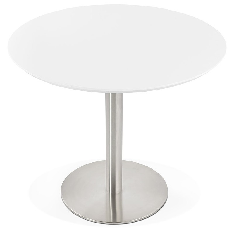 Round dining table design or Office COLINE in MDF and metal brushed (O 90 cm) (white, brushed steel) - image 39764