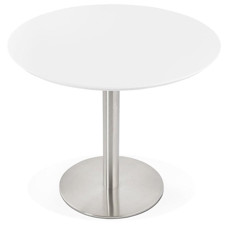 Runder Esstisch Design oder Büro COLINE aus MDF und Metall gebürstet (O 90 cm) (weiß, gebürstetem Stahl) - image 39764