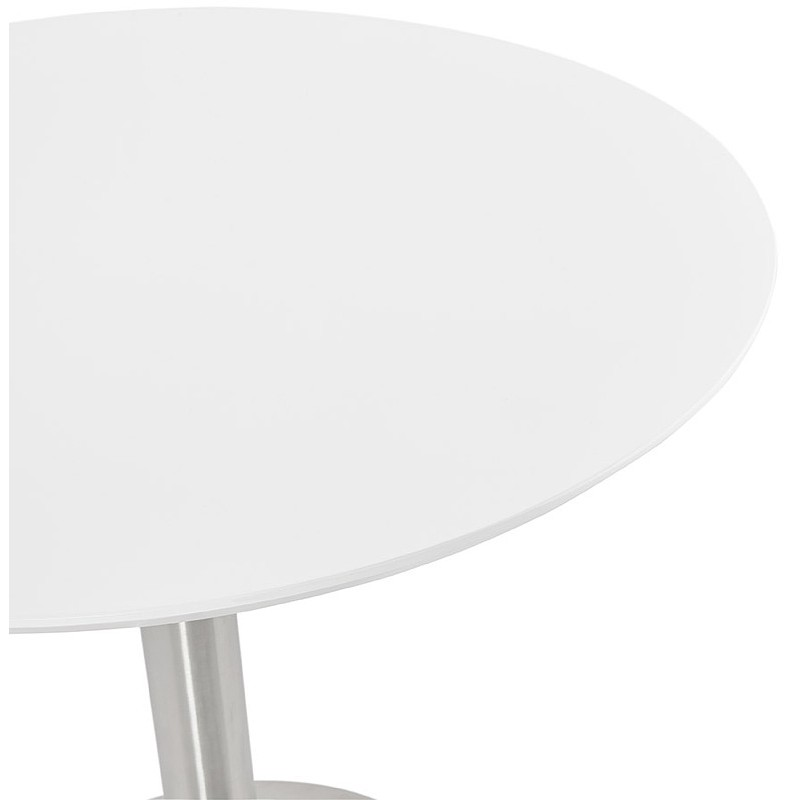 Round dining table design or Office COLINE in MDF and metal brushed (O 90 cm) (white, brushed steel) - image 39766