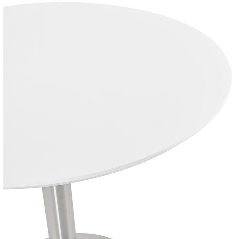 Runder Esstisch Design oder Büro COLINE aus MDF und Metall gebürstet (O 90 cm) (weiß, gebürstetem Stahl) - image 39766