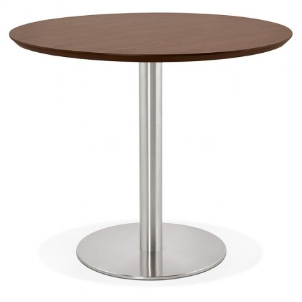 Table round dining design or Office COLINE in MDF and brushed metal (Ø 90 cm) (Walnut, brushed steel)
