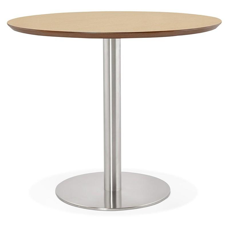 Table à manger ronde design ou bureau COLINE en MDF et métal brossé (Ø 90 cm) (naturel, acier brossé) - image 39786