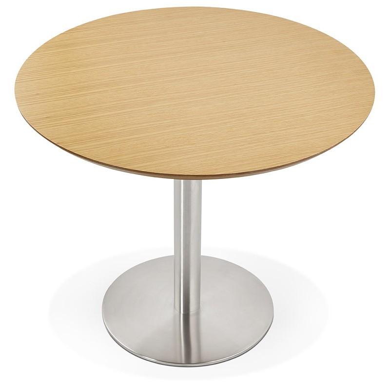 Table à manger ronde design ou bureau COLINE en MDF et métal brossé (Ø 90 cm) (naturel, acier brossé) - image 39788