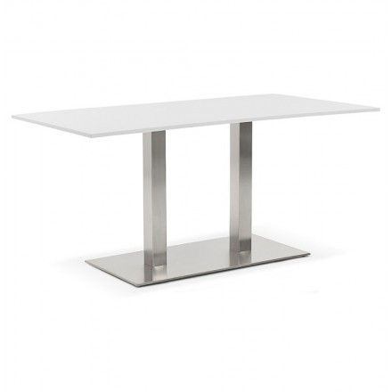 Table à manger design ou table de réunion SOLENE (160x80x75 cm) (blanc)