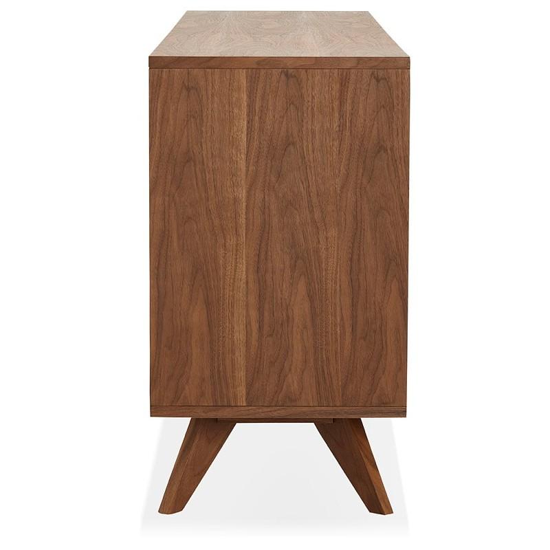 Buffet enfilade design et rétro 2 portes 3 tiroirs MELINA en bois (noyer) - image 39998