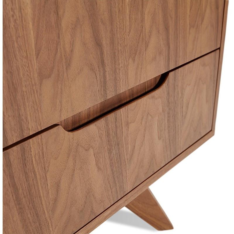 Buffet enfilade design et rétro 2 portes 3 tiroirs MELINA en bois (noyer) - image 40002